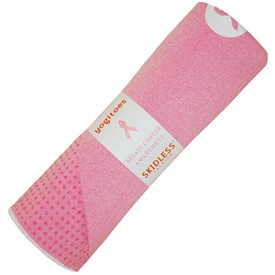 Mat-Size Yogitoes SKIDLESS Yoga Towel (Breast Cancer Pink)