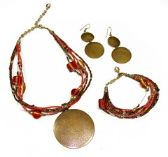 Red and Bronze Jewelry Set