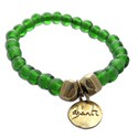 Shanti Mala Bracelet GREEN Recycled Glass and Brass