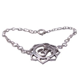 Sterling Silver Om (Aum) Lotus Bracelet with Cubic Zirconia