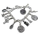 Charm Bracelet with Ganesh, Om, Peace, Buddha, Yin Yang, Love, Celtic Cross, Hamsa, Om Mani Padme Hum, Labyrinth, and Ankh