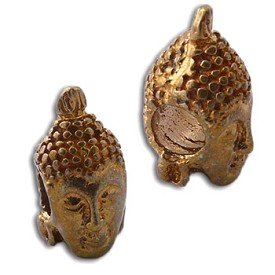 Buddha Head Bead Recycled Brass