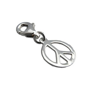 Charmas Sterling Silver Peace Charm Pendant with Spring Clasp