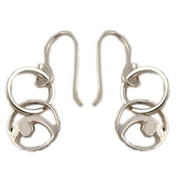 Yoga Pose Sterling Silver Earrings - Back Bend Double Loop