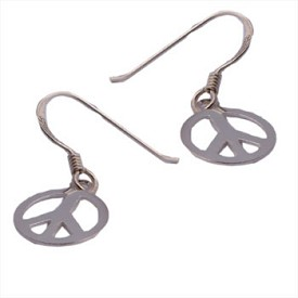 Sterling Silver Small Peace Dangle Earrings