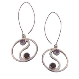 Sterling Silver Yin Yang Earrings with Amethyst and Garnet Chakra Stones