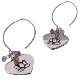 Lotus Love Dangle Earrings with Semi Precious Stones - Amethyst, Peridot, Rose Quartz