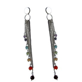 Well-Being Sterling Silver Chakra Earrings with Gemstones - Amethyst, Garnet, Peridot, Citrine, Carnelian, Iolite, Apatite