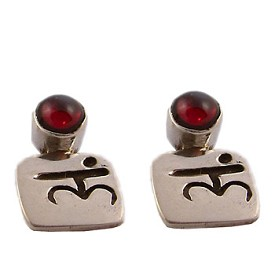 Sterling Silver Chakra Gem Earrings with Mantra