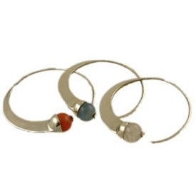 Sterling Silver Hoop Earrings with Gemstone