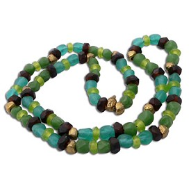 Buddha Mala Necklace COOL SEA Recycled Glass and Brass
