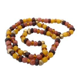 Buddha Mala Necklace WARM EARTH Recycled Glass and Brass