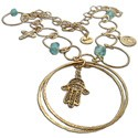 Gypsy Necklace Hamsa Recycled Brass