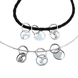 Yoga Loops Poses Charms with 20'' Black Leather Necklace or 16'' Sterling Silver Omega Snake Chain