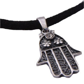Hamsa - Hand of Fatima Sterling Silver Necklace