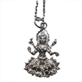 Hindu Goddess Lakshmi Pendant on Sterling Silver Chain