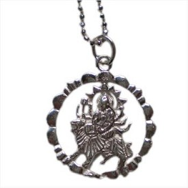 Durga, Hindu Deity, Mother Earth Goddess 16'' Sterling Silver Necklace