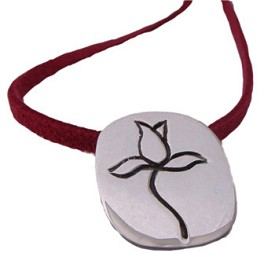 Blooming Lotus Sterling Silver Pendant on Colored Ultra Suede Leather Necklace