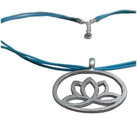 Enlightenment Lotus Brushed Matte Pendant in Sterling Silver on 17'' Color Necklace