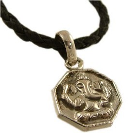 Ganesh, Hindu Deity, Sterling Silver Pendant on a 20'' Leather Cord Necklace