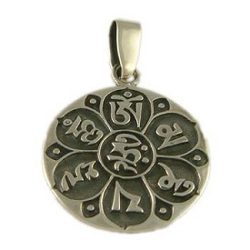Sterling Silver Buddhist Pendant of Compassion - Om Mani Padme Hum