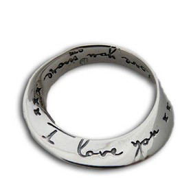 Sterling Silver Mobius Infinity Pendant - ''I Love You''