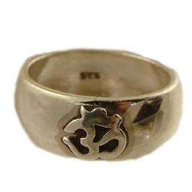 Sterling Silver Om (Aum) Overlay Ring - Sizes 6-10