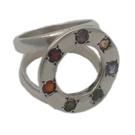 Circle of Happiness Ring with Chakra Gemstones (Size 6 to 9) - Amethyst, Garnet, Peridot, Citrine, Carnelian, Iolite, Apatite
