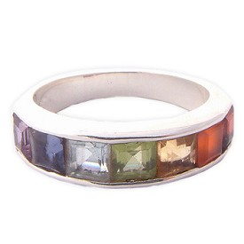 Channel Set Rainbow Chakra Ring (Sizes 6-10) with Semi Precious Gemstones - Amethyst, Garnet, Peridot, Citrine, Carnelian, Iolite, Apatite