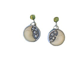 Tagua and Peridot Post Earrings