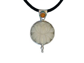 Tagua with Amber Pendant