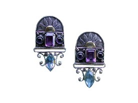 Amethyst, Lolite and London Blue Topaz Post Earrings with Touch Of Gold