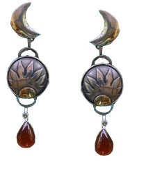 Amber Sun and Moon Earrings