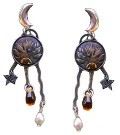 Sun and Moon Earring with Amber Glass Teardrops and Pearls