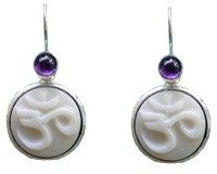 Tagua Nut OM Earrings with Amethyst Cabs
