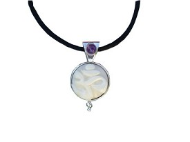 Tagua Nut OM Pendant and Amethyst (Medium Size)