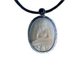 Yogini/Goddess Pendant In Tagua with Lolite (Large)