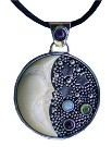 Tagua Nut Moon Pendant with Amethyst At The Top, Opal, Peridot and Amethyst