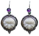 Tagua Lotus and Amethyst Earrings