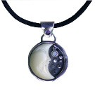 Pendant with Tagua Moon, Amethyst and Opal