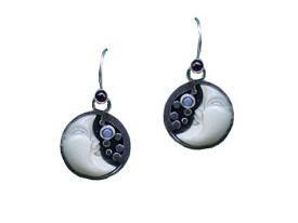 Tagua Moon, Garnet and Opal Earrings