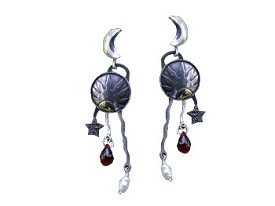 Sun and Moon Earring with Garnet Glass Teardrops and Pearls