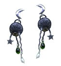 Sun and Moon Earring with Peridot Glass Teardrops and Pearls
