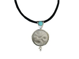 Tagua OM and Turquoise Pendant (Medium)