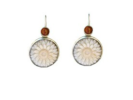 Tagua Sunflower and Amber Earrings
