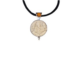Tagua Nut Ganesha with Amber Pendant (Large Size)