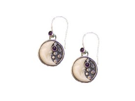 Tagua 1/2 Moon, Amethyst Ear wire and Amethyst Earrings
