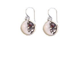 Tagua 1/2 Moon and Garnet Earrings