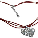 Handmade Designer Heart Shaped Wire Pendant with Soft Cotton Necklace