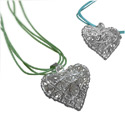 Handmade Designer Large Heart Shaped Wire Pendant with Soft Cotton Necklace
